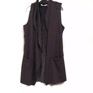 Soft surroundings brown sleeveless cardigan